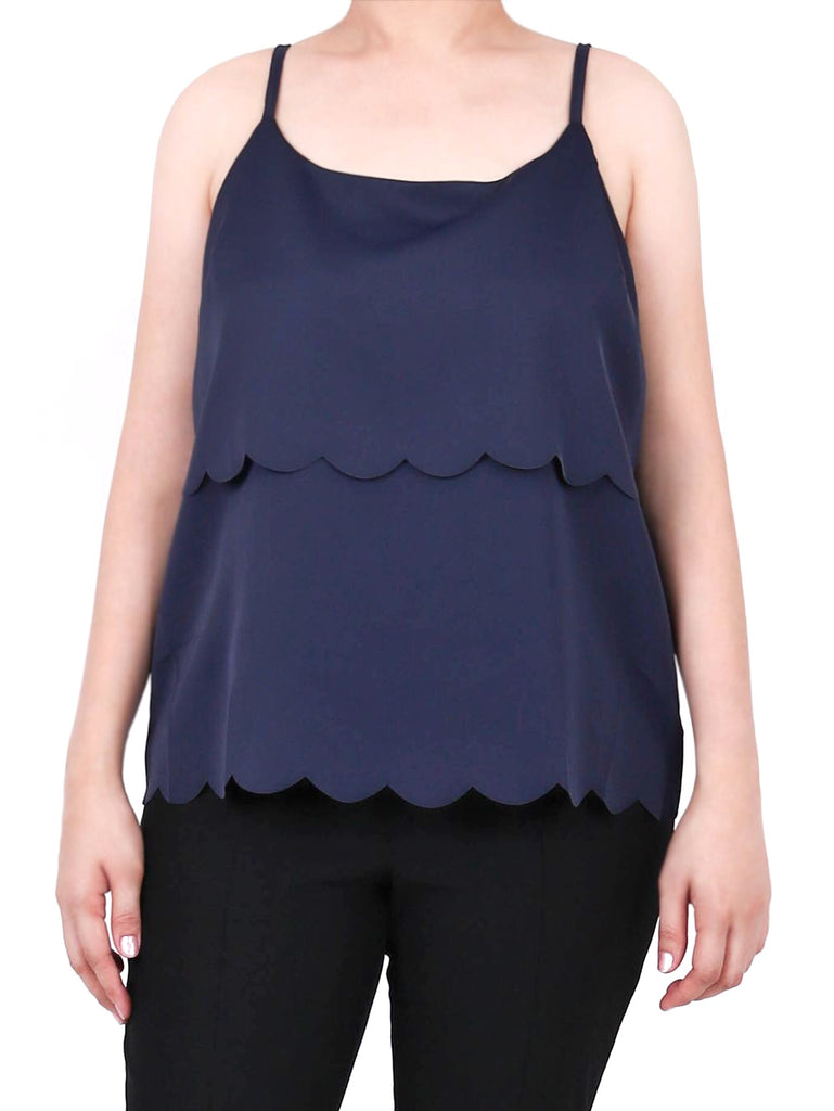 LAYERED SATIN SCALLOPED TOP- NAVY (4723340148820)