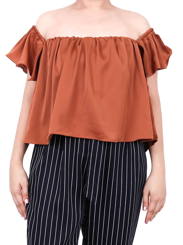 OFF SHOULDER SATIN TOP (4722524356692)