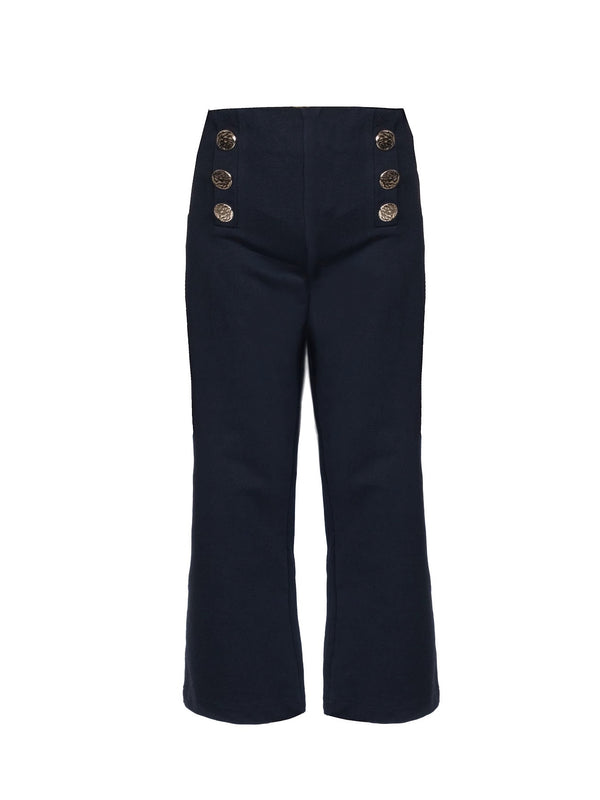 WIDE LEGGED PANTS WITH GOLD BUTTONS