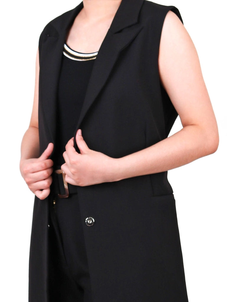 FULLY-LINED LONG VEST WITH RESIN BUCKLE (4731884404820)
