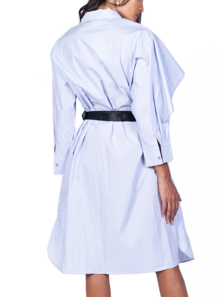 BUTTONDOWN SHIRTDRESS WITH RUFFLE OVERLAY (4723653574740)