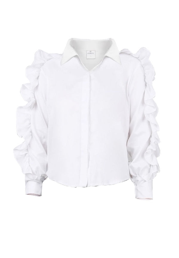 BUTTONDOWN RUFFLED TOP