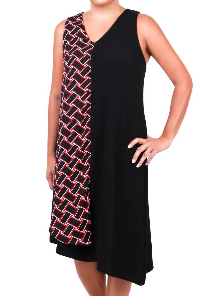 V-NECK SLEEVELESS COMBINATION DRESS (4682456465492)