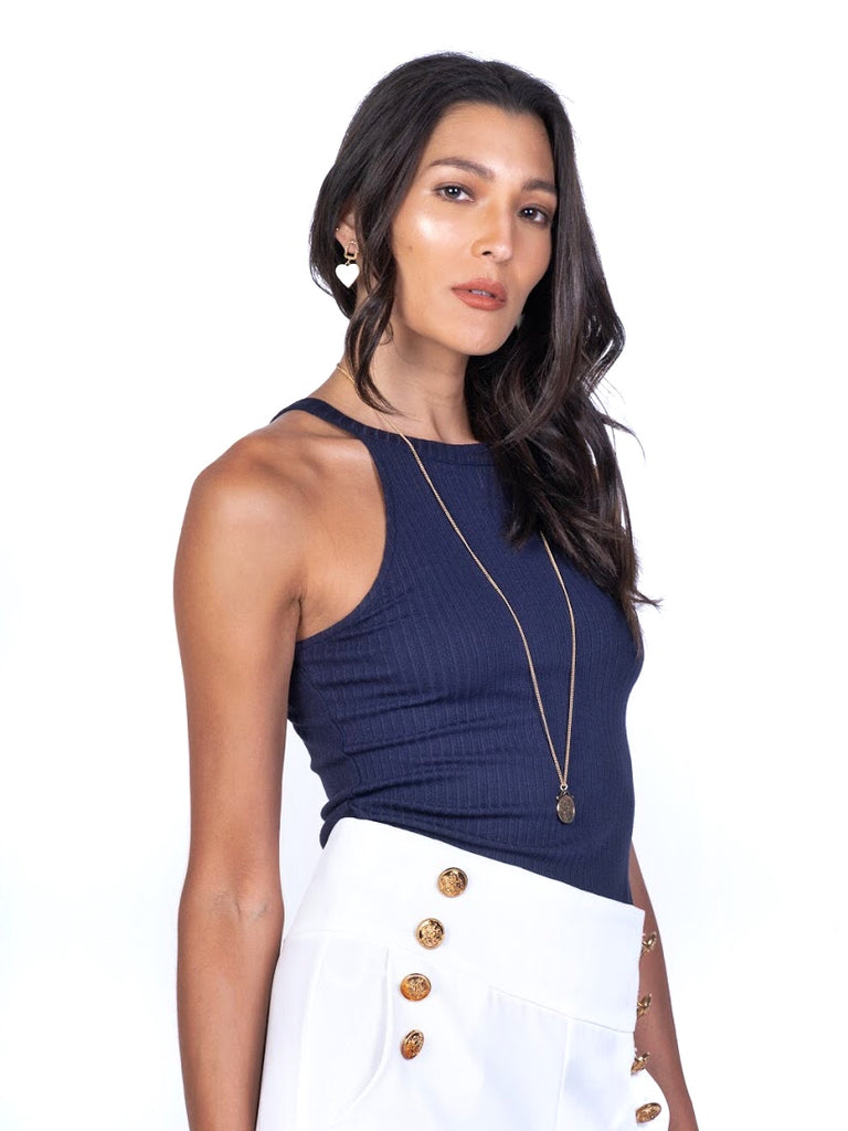 RIBBED KNIT HALTER TOP (4684325322836)