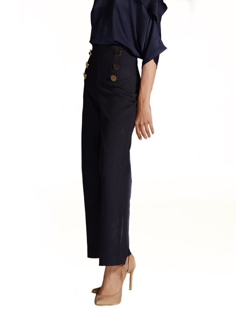 WIDE LEGGED PANTS WITH GOLD BUTTONS (4726085877844)