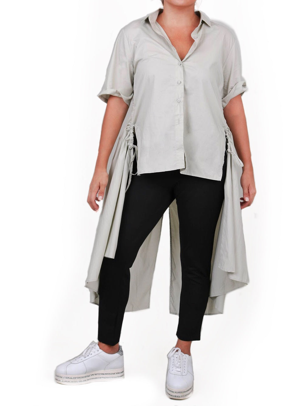 HI-LO BUTTON DOWN SHIRT WITH SIDE RUSHING