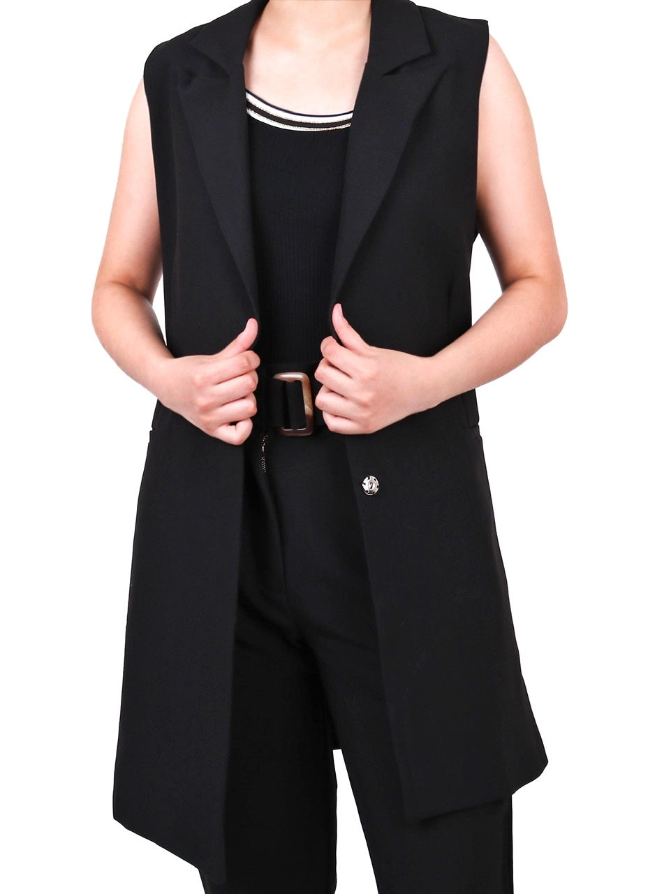 FULLY-LINED LONG VEST WITH RESIN BUCKLE