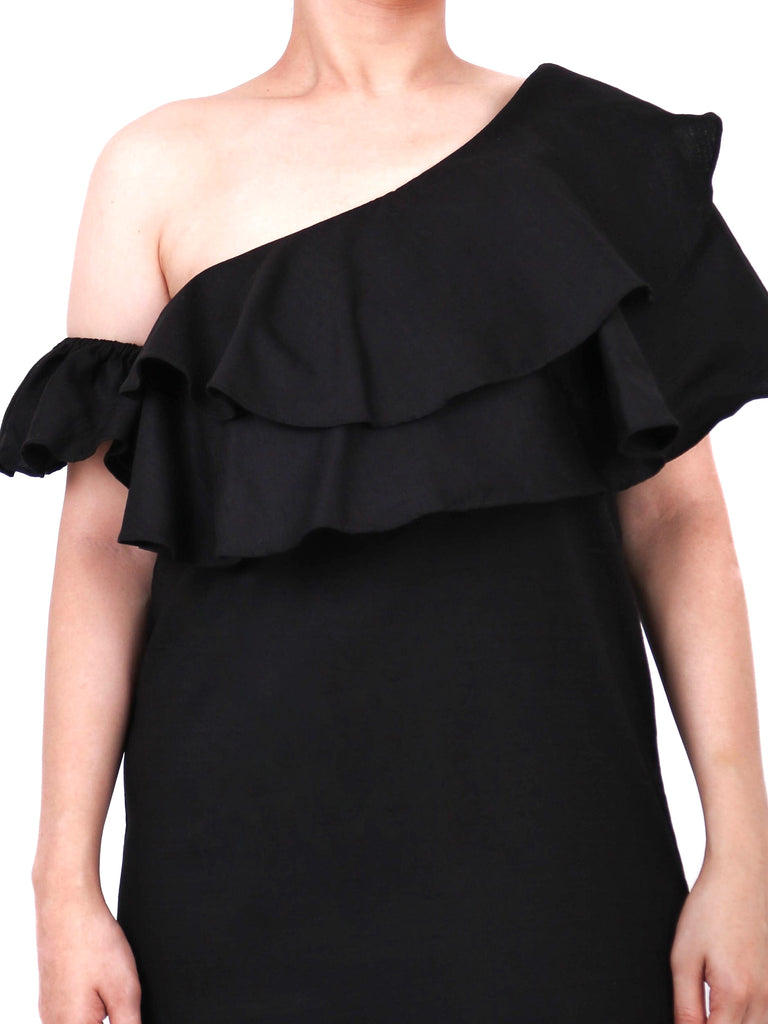 ASYMMETRICAL RUFFLED DRESS (4729471270996)