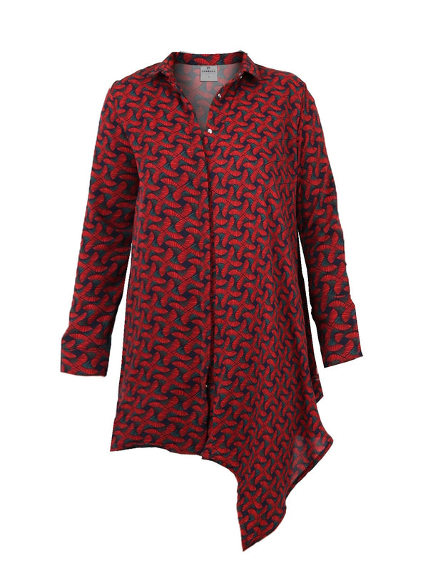 ART DECO PRINT BUTTONDOWN TUNIC TOP