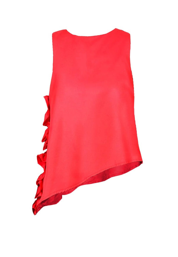 SLEEVELESS TOP WITH SIDE RUFFLE DETAIL