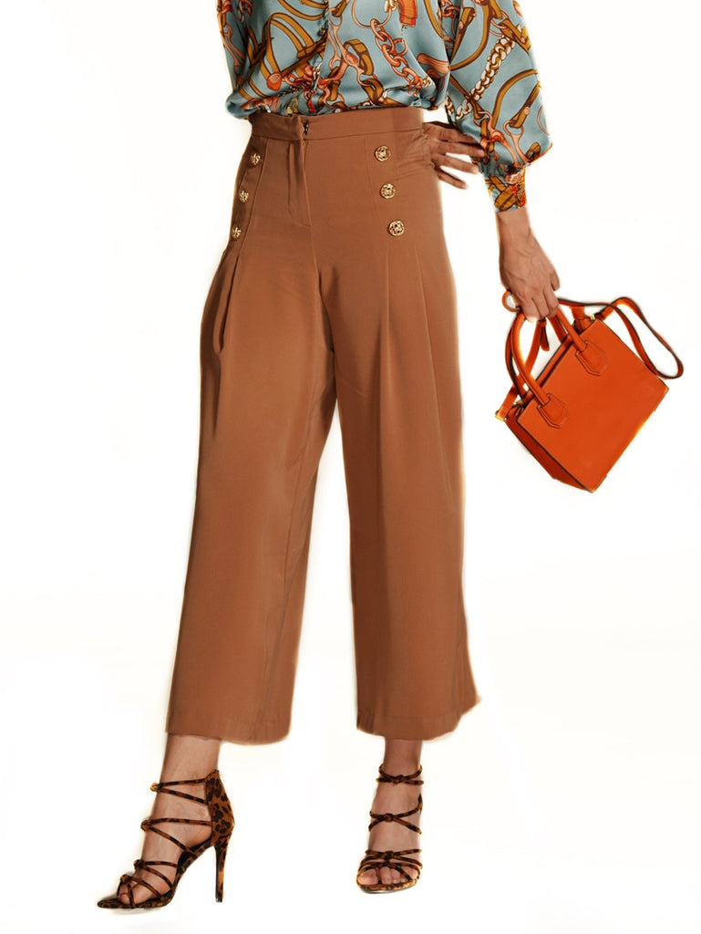 HIGH WAISTED PLEATED TROUSERS (4684297502804)