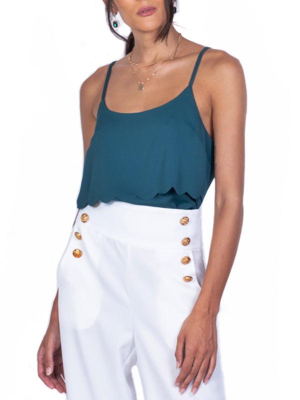 LAYERED SATIN SCALLOPED TOP