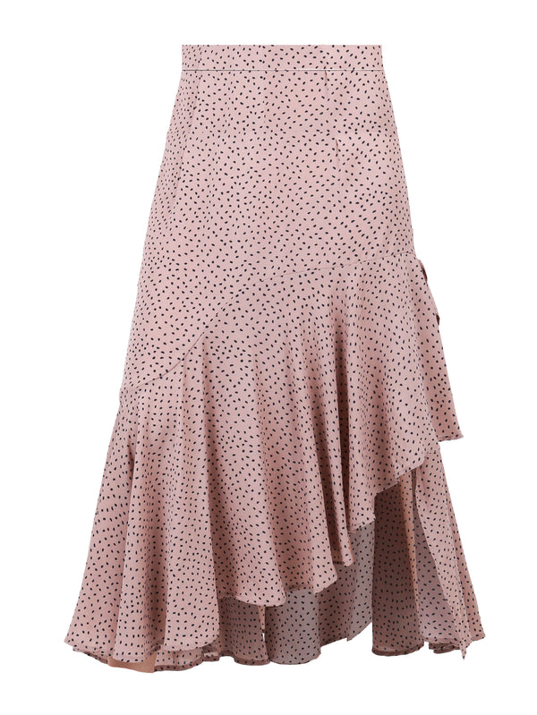 LAYERED RUFFLES MIDI SKIRT