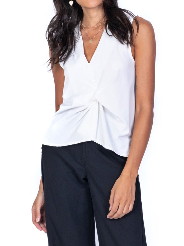 TWIST-FRONT SLEEVELESS TOP