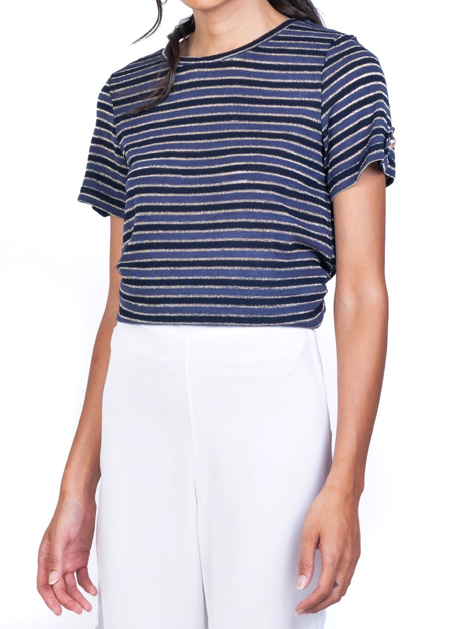 BASIC METALLIC STRIPE JERSEY TEE