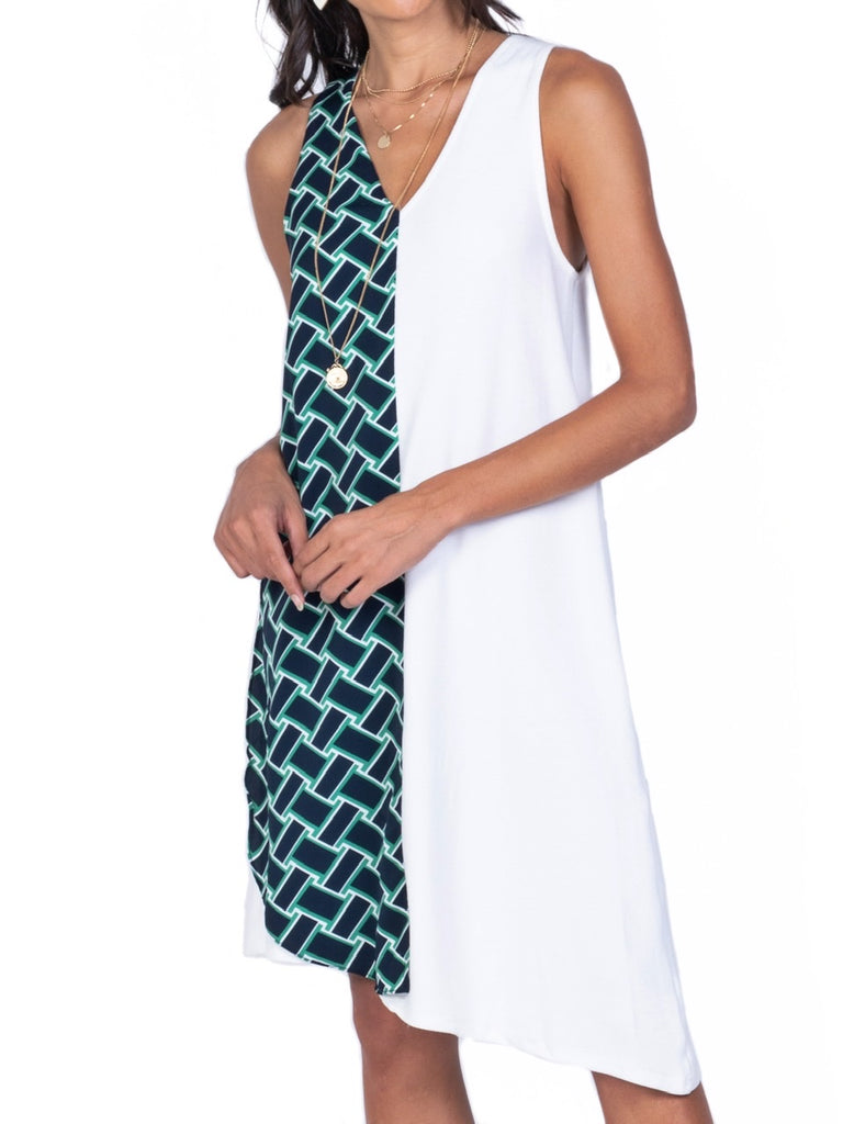 V-NECK SLEEVELESS COMBINATION DRESS (4729820119124)