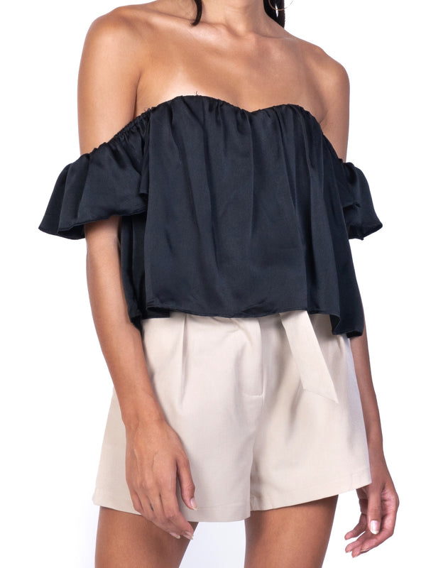 OFF SHOULDER SATIN TOP
