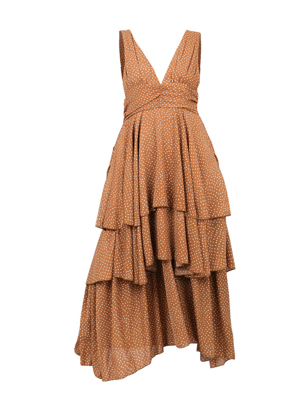 RUCHED WAIST DRESS WITH RUFFLES