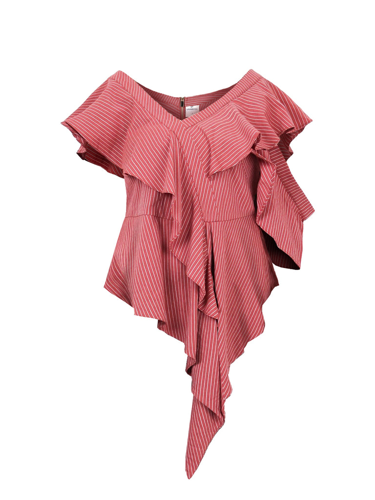 LAYERED RUFFLES DRAPE BLOUSE (4722533630036)