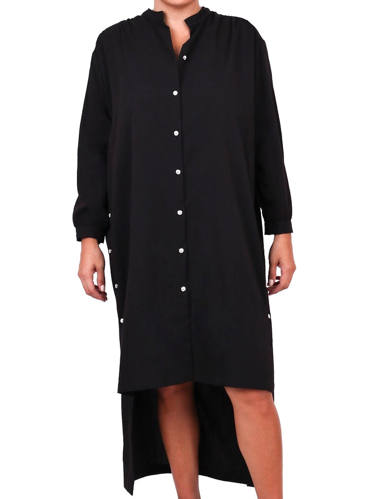 HI-LO BUTTON DOWN TUNIC DRESS (4730035077204)