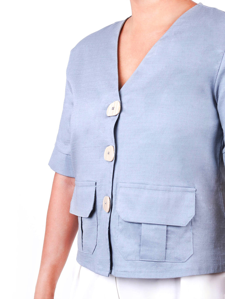 V-NECK TWO POCKET BUTTON DOWN BLOUSE (4722596741204)