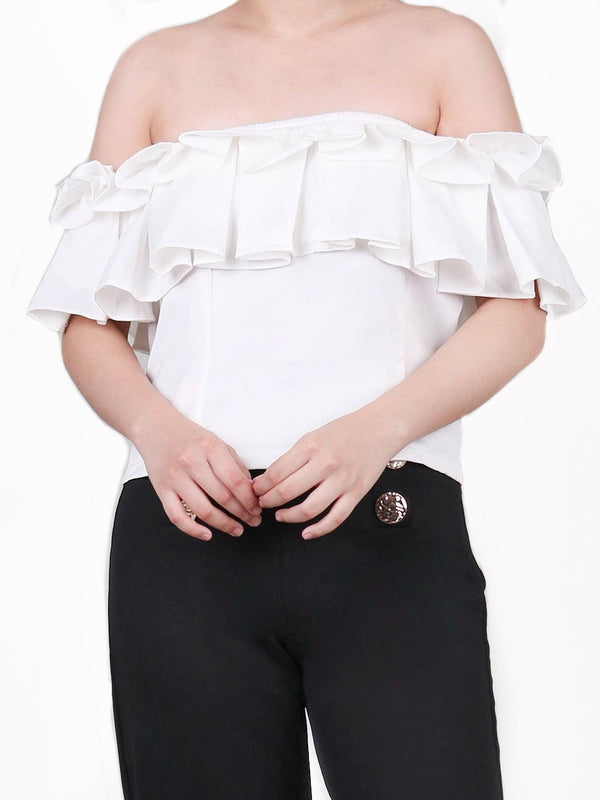 OFF-SHOULDER RUFFLED TOP
