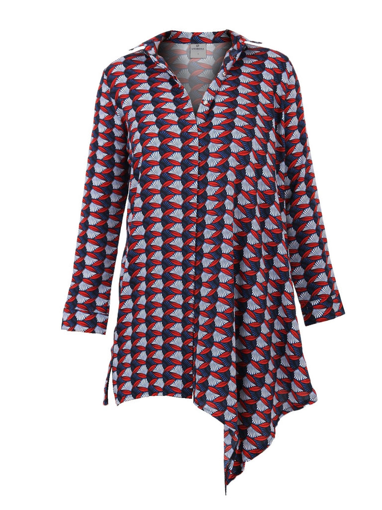 ART DECO PRINT BUTTONDOWN TUNIC TOP (4683975688276)
