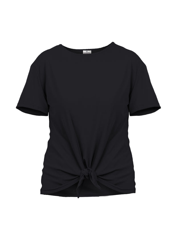 TIE-FRONT COTTON SPANDEX TEE