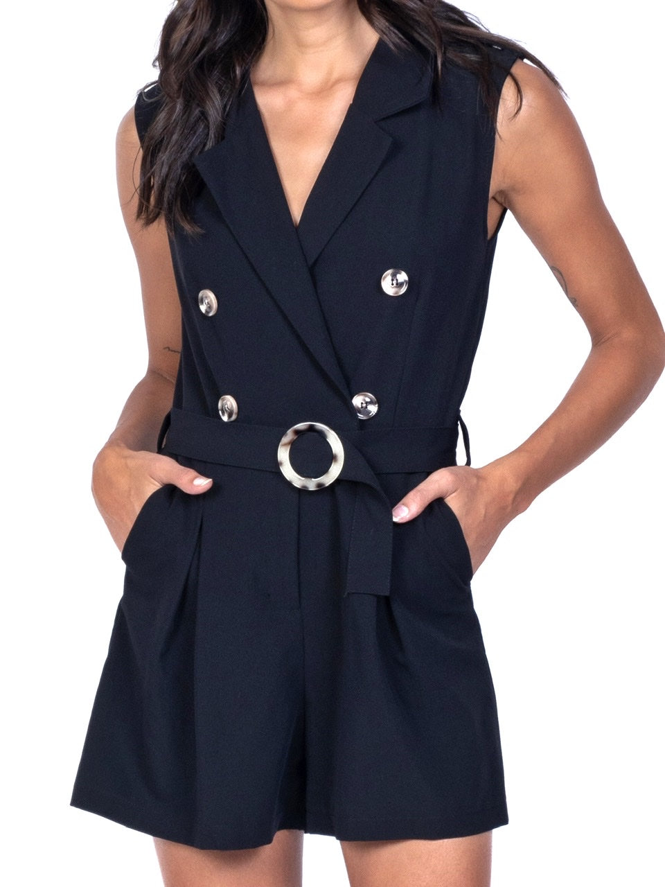 DOUBLE-BREASTED SLEEVELESS ROMPER (4684305629268)