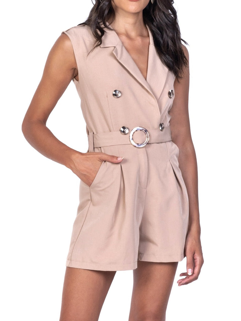 DOUBLE-BREASTED SLEEVELESS ROMPER (4730059915348)