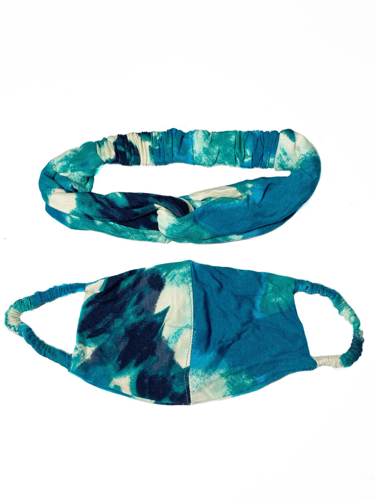 REUSABLE HEADBAND AND FACE MASK- TEAL (4737313734740)