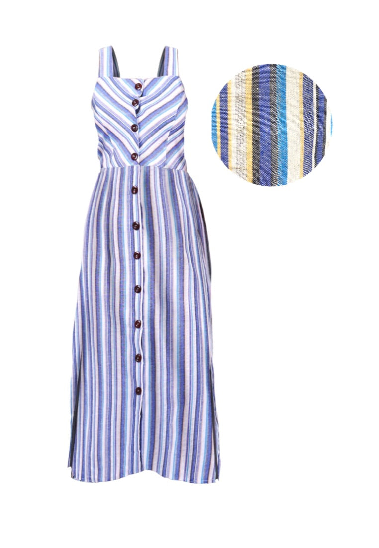 CANDY STRIPES COTTON BUTTONDOWN SLEEVELESS DRESS