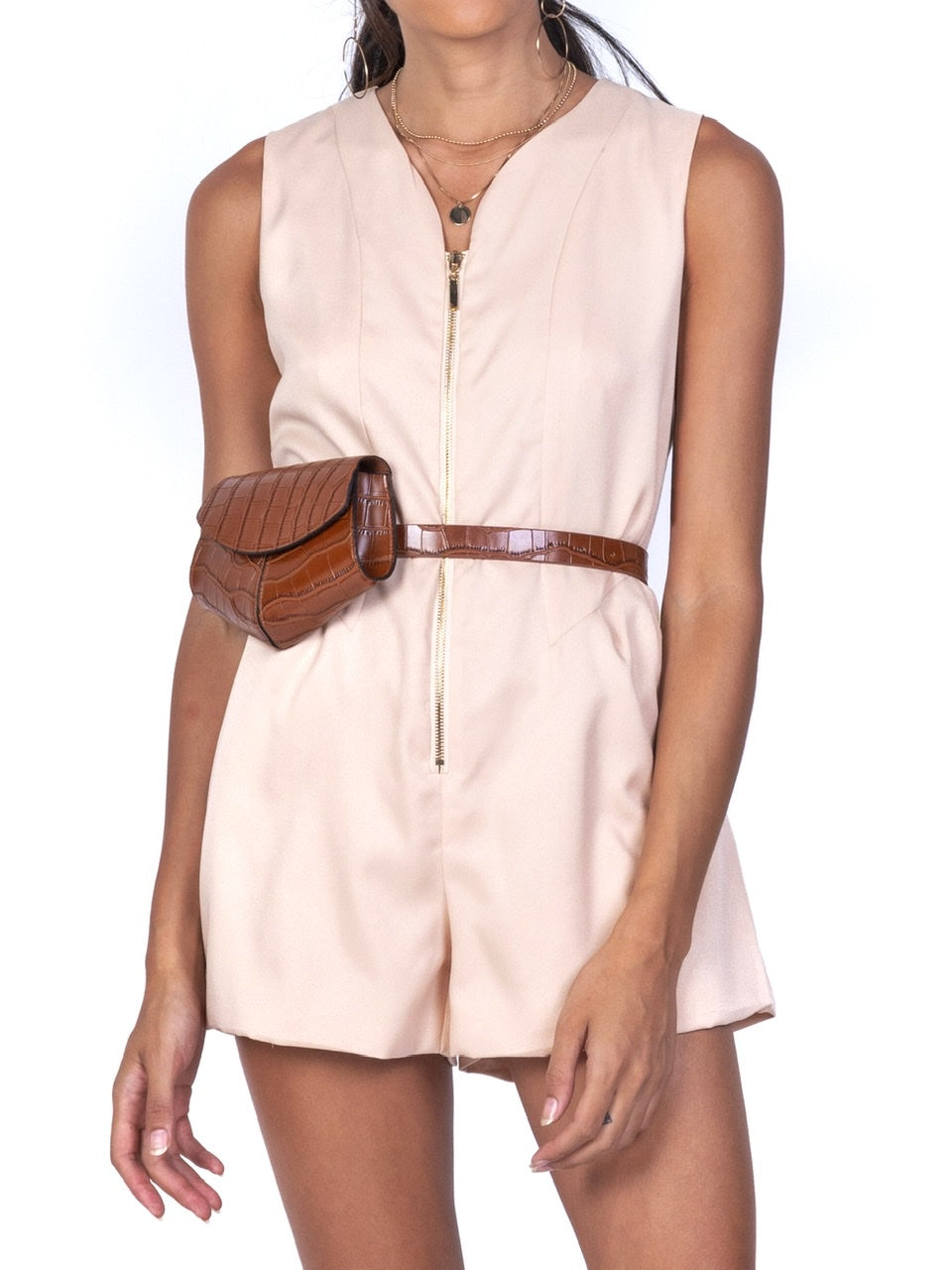 ZIPPER FRONT SLEEVELESS ROMPER (4684259229780)