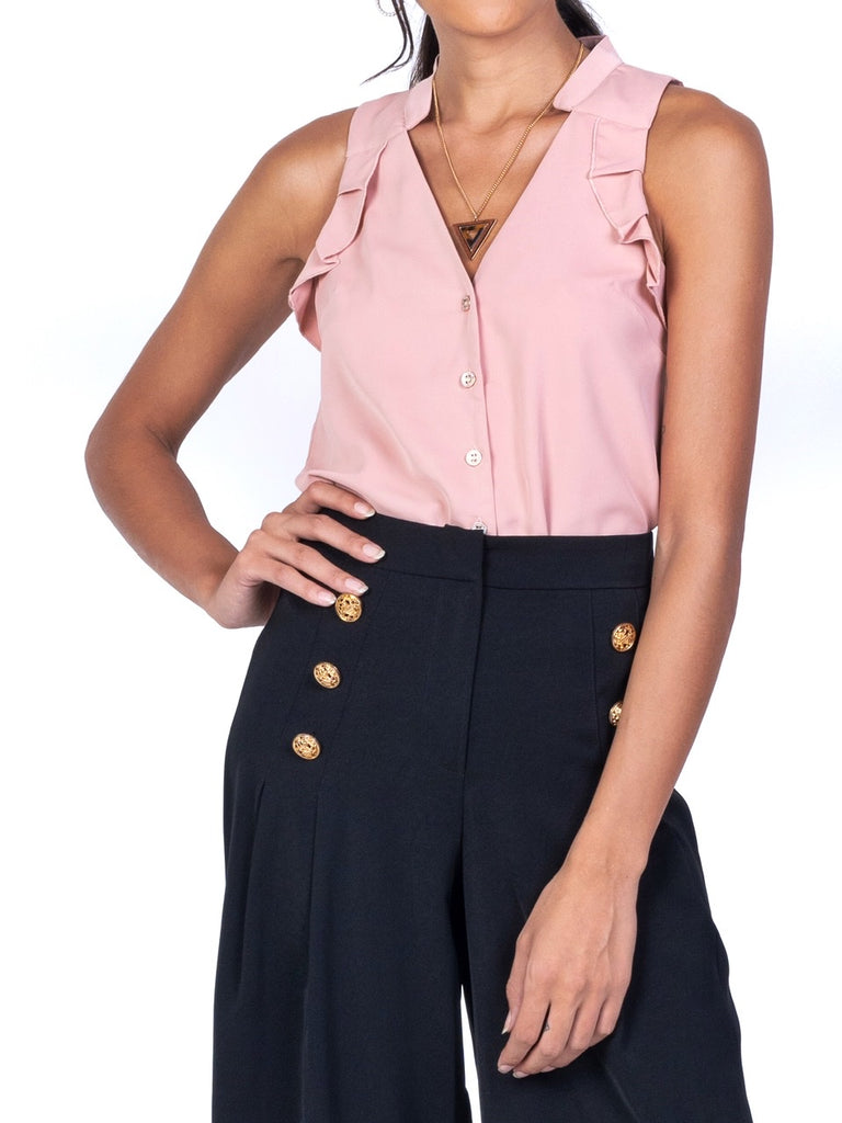 SLEEVELESS V-NECK RUFFLED TOP (4722607915092)
