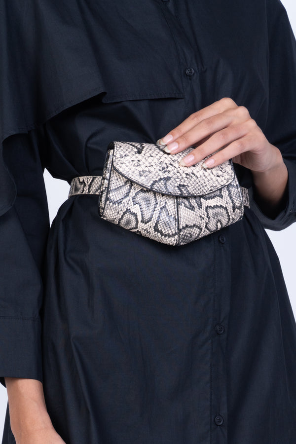 LEATHER BELT BAG-SNAKESKIN