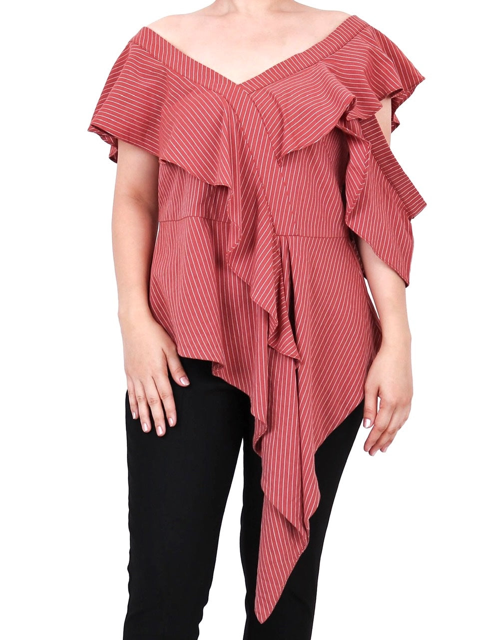 LAYERED RUFFLES DRAPE BLOUSE