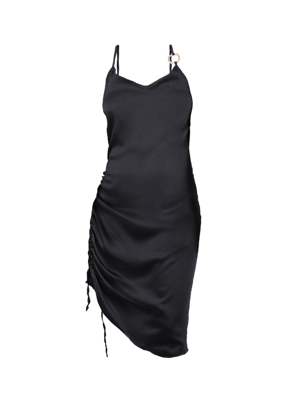SATIN SLIP DRESS WITH GOLD RING ACCENT
