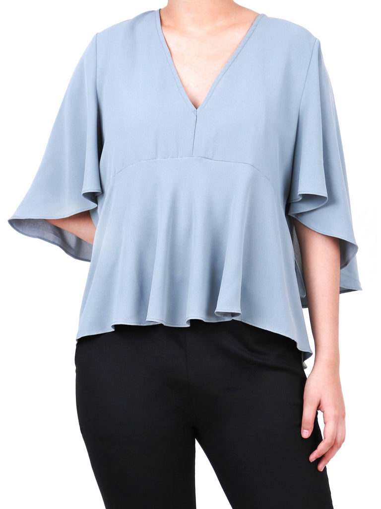 RUFFLED CAPE BLOUSE (4722453282900)