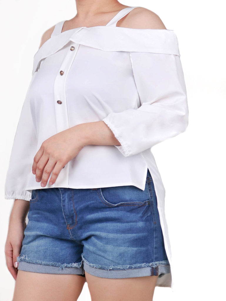 OFF SHOULDER BUTTONDOWN TOP (4722445156436)