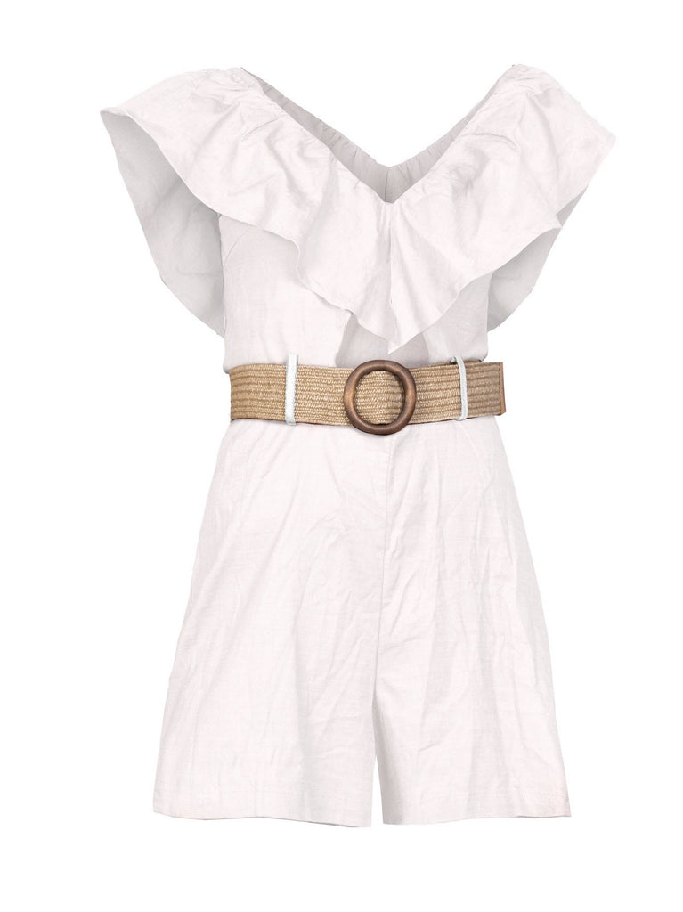 V-NECKLINE RUFFLED ROMPER WITH RATTAN BELT (4755811467348)