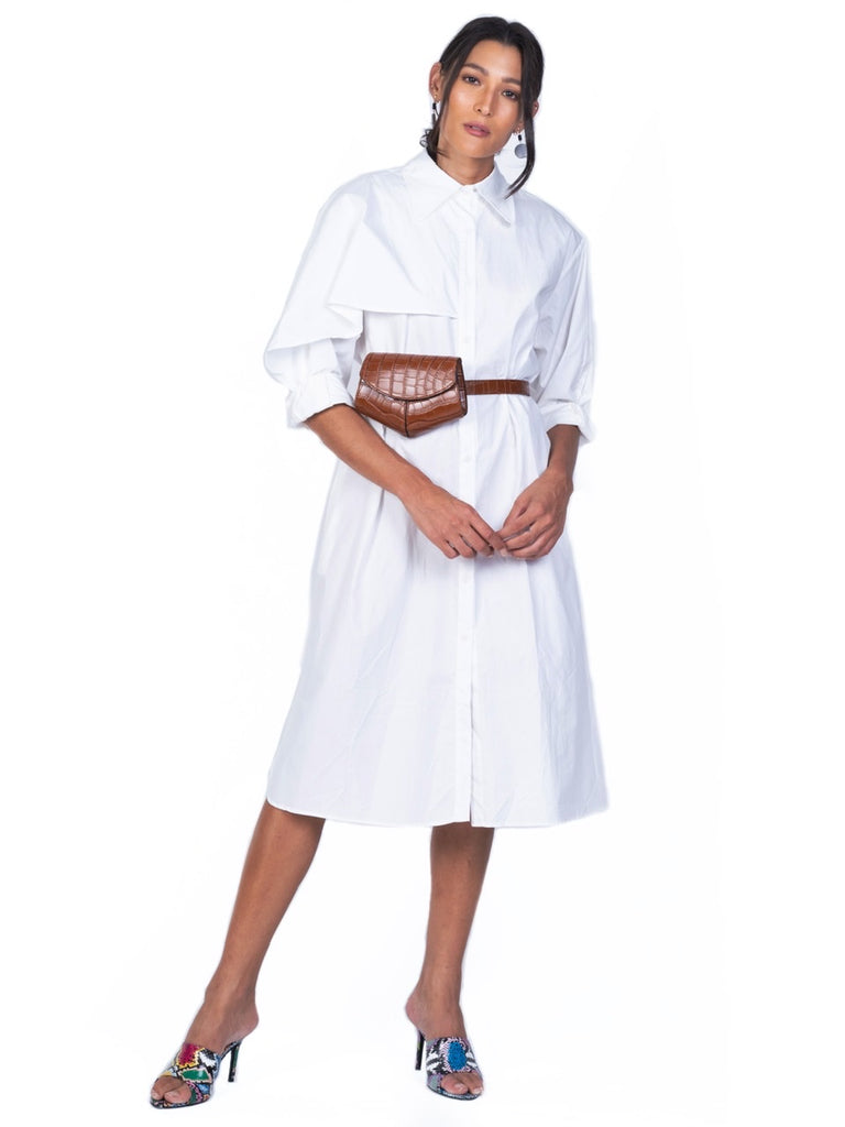 BUTTONDOWN SHIRTDRESS WITH RUFFLE OVERLAY (4723651149908)