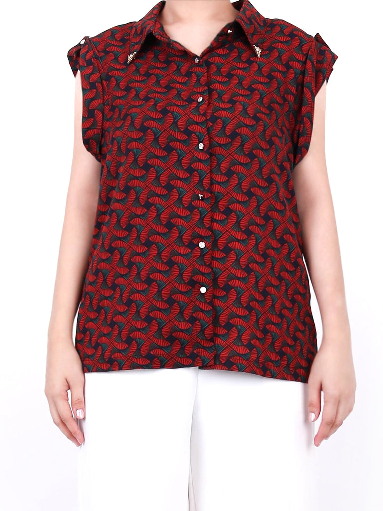 ART DECO PRINT BLOUSE WITH GOLD COLLAR TIP (4722602475604)