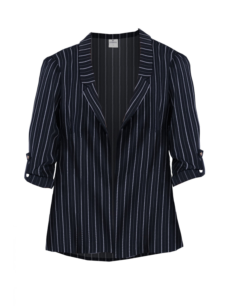 PINSTRIPE BOYFRIEND BLAZER WITH SIDE SLIT (4683838488660)