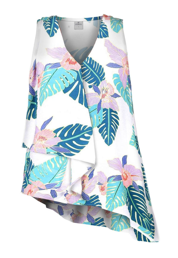 TROPICAL PRINT SLEEVELESS LAYERED TOP