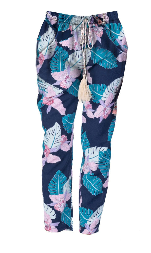 TROPICAL PRINT COTTON TROUSERS