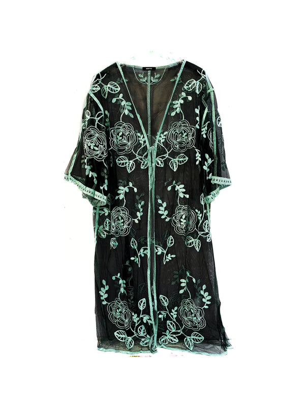 EMBROIDERED LACE COVER-UP