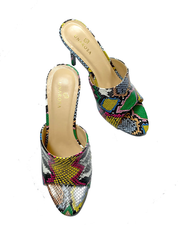 SNAKESKIN MULES-MULTICOLOR