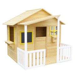 Cubby house with natural wood and a patio and verandah and a roof, has windows and a blackboard and a shop type window and a white picket fence