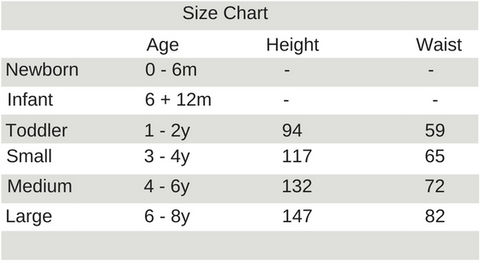 Size Sizing Chart for All Things for Kids Kids Costumes available on afterpay and zippay in Australia