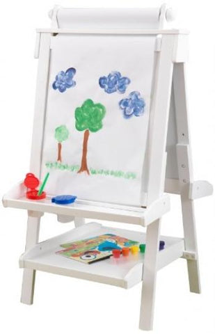 image of the kid kraft kids art easel with roll of paper and paint cups f